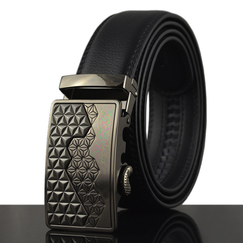 famous brand belt men 100% good quality cowskin genuine luxury leather men's for male metal automatic buckle(China (Mainland))