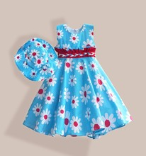 girl floral print  dress with hat  and handmade belt casual girl cotton dress  high street