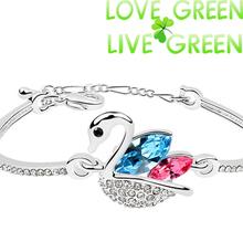 2014 new arrival Free shipping summer brand  fashion Jewelry 18k gold Austrian Crystal heart multi Cuff Bracelet Bangle 80111(China (Mainland))
