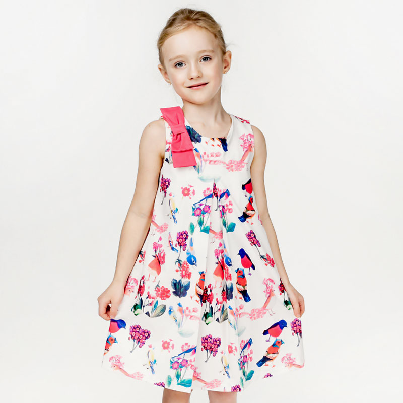Baby Girls Dresses 2016 New Brand Girls Simmer Dress Princess Costume Animal Floral Print Kids Dresses for Girls Clothes(China (Mainland))