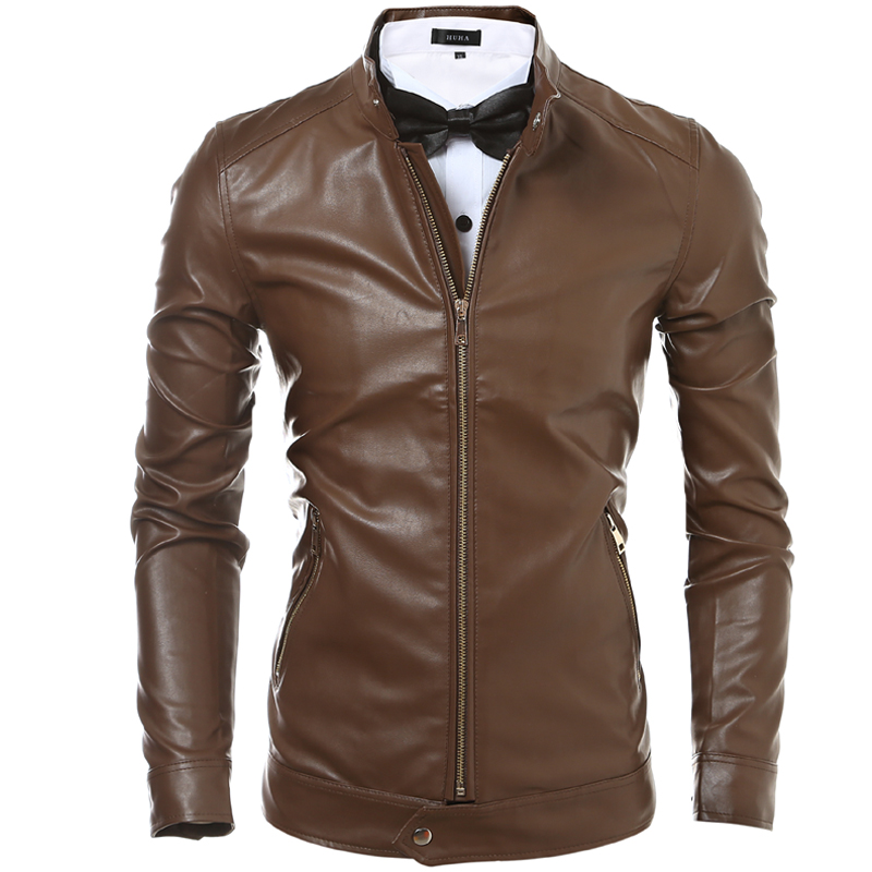 Autumn Winter Men's Clothes Faux Leather Jacket Men Stand Collar Zipper Pockets Black Brown Slim Fit Windbreaker Coat Male Sale(China (Mainland))