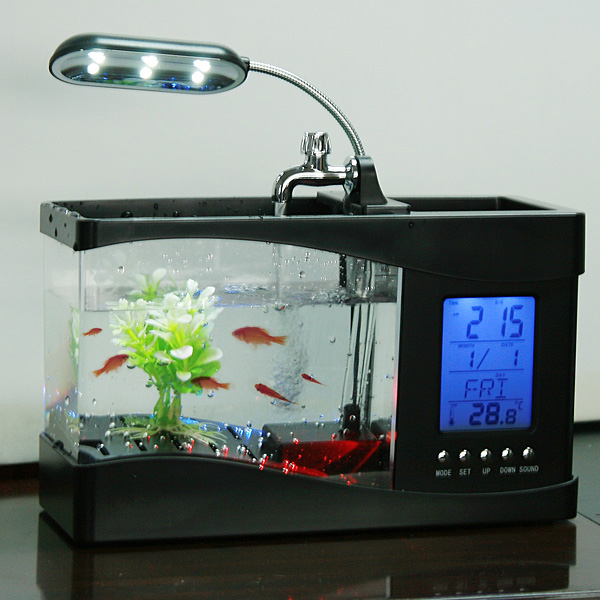 2Colors Mini Usb Fish Tank Desktop Electronic Aquarium Mini Fish Tank ...