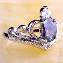 Wholesale Hot New Stylish Sexy Ladies Oval Cut Mysterious Rainbow Topaz 925 Silver Ring Size 6