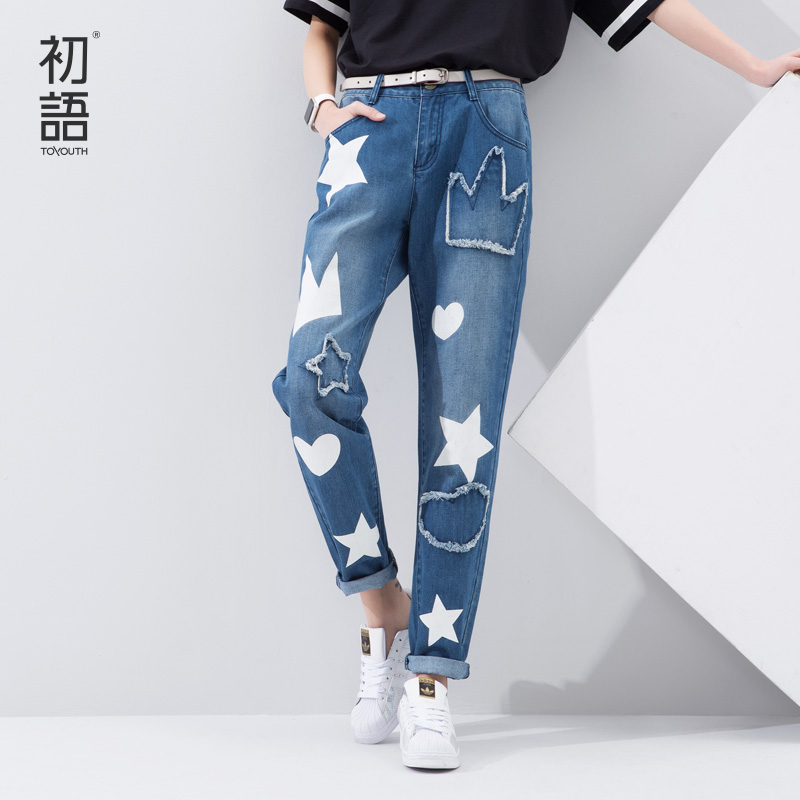 Toyouth 2016 Spring Summer New Arrival Printed Star Pattern Women Fashion Character Loose Blue JeansОдежда и ак�е��уары<br><br><br>Aliexpress