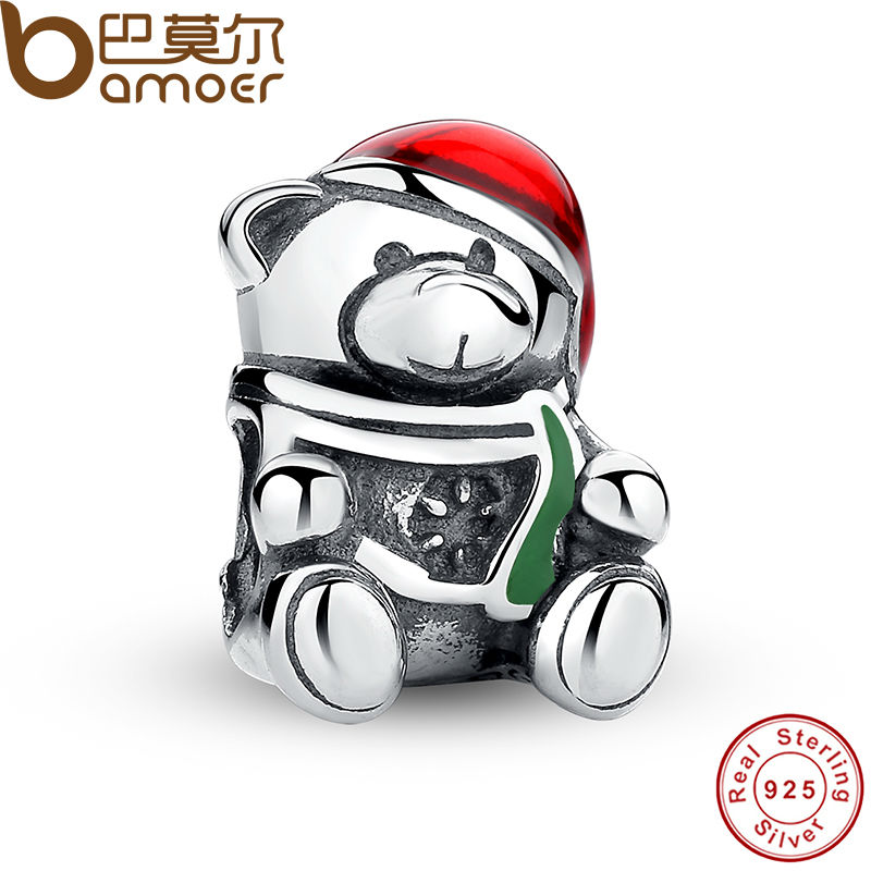 BAMOER 925 Sterling Silver Christmas Teddy Bear Red & Green Enamel Charm Bead Fit Bracelet Original Jewelry PAS254(China (Mainland))