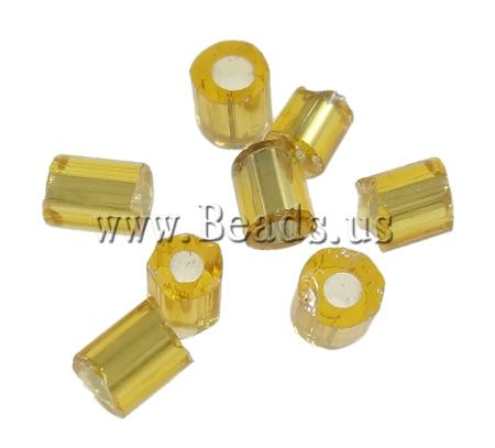 Free shipping Fashion Graceful Statement Jewelry 450g/Bag yellow Tube silver-lined 2 Cut Glass Seed Beads ID55203(China (Mainland))