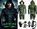 2015 Superhero Green Arrow Cosplay Costume for men leather jacket leather pants Oliver Queen green arrow