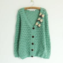 casual women Sweater Long sleeve knitted Cardigans 2014 Women Fashion Open Stitch V-Neck Casual Tricotado Sweaters with bow 26