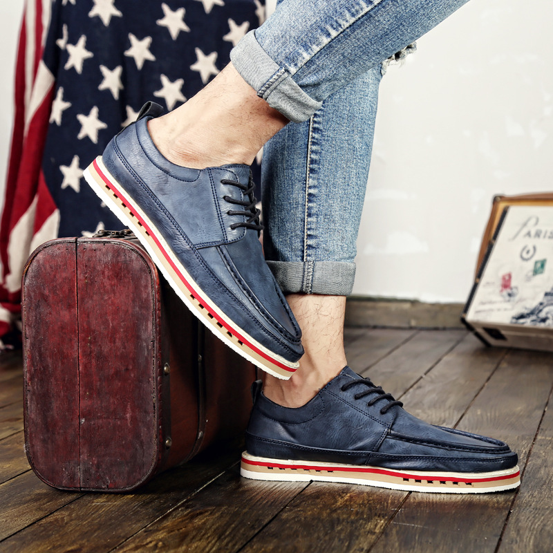 The British men's leather shoes factory wholesale new autumn and winter shoes low shoes fashion brand shoes