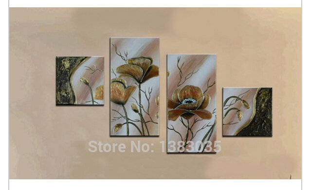handpainted modern abstract oil painting flowers 4 piece. Black Bedroom Furniture Sets. Home Design Ideas