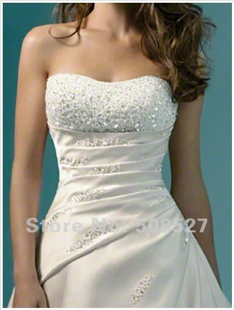 New Custom Made White/Ivory Satin Beading Sequins Crystal Strapless A-Line Elegant Wedding Dress Bridal Gown Bride Dress(China (Mainland))