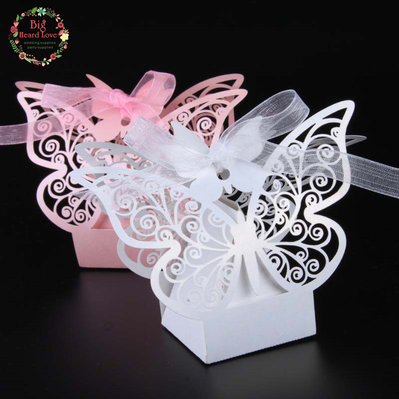 2016 Free shipping 50pcs/lot Laser cut Butterfly Wedding Candy Favor paper Box wedding favor and gift baby shower Birthday gift(China (Mainland))