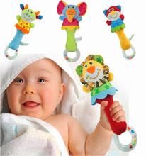 2016 Brinquedos Do Chocalho Do Bebê Newbron Animal Sinos de Mão Brinquedo Do Bebê Do Luxuoso de Alta Qualidade Presente de Natal Animal do Estilo Frete Grátis