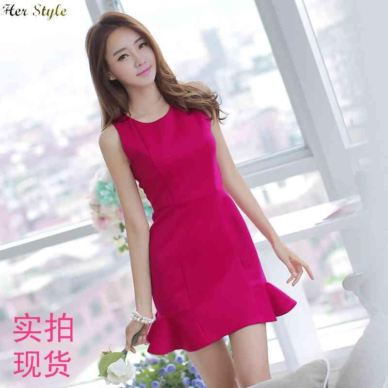 Free Shipping 8858 really making girls slim fit base fish tail  flounce sleeveless t bag hip dress 1430832294(China (Mainland))
