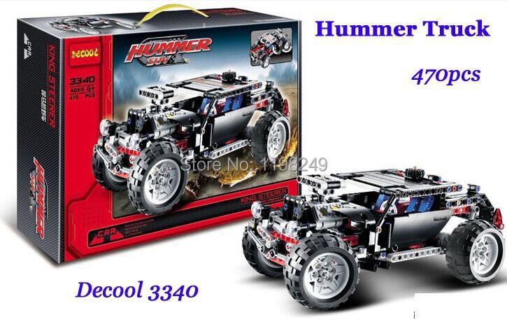 Baby TOYS Decool 3340 High Tech Cruiser Transport Hummer SUV Racing Car Model 470cs/set Building Block kits toys for child gift(China (Mainland))