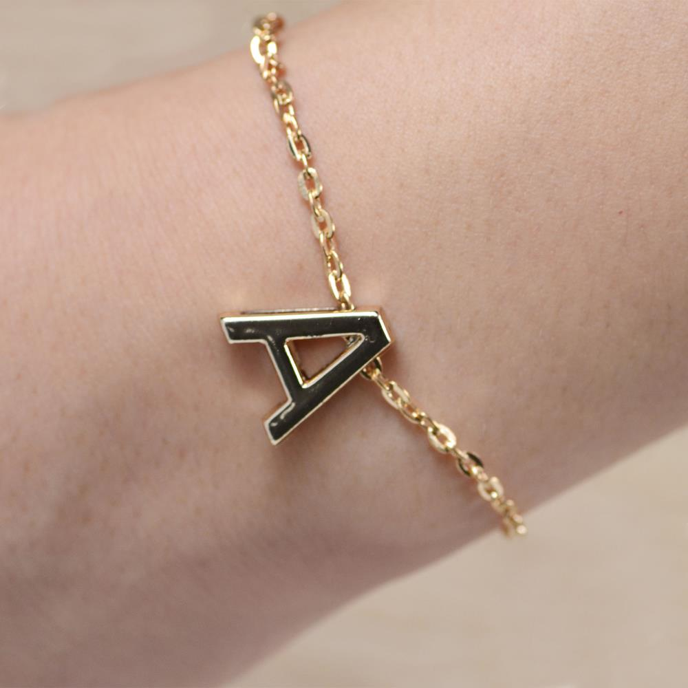 Gold Plated Letters Bracelet Initial Charm Chain Bracelet Bangle Fashion Women Jewelry Gift A To Z(China (Mainland))