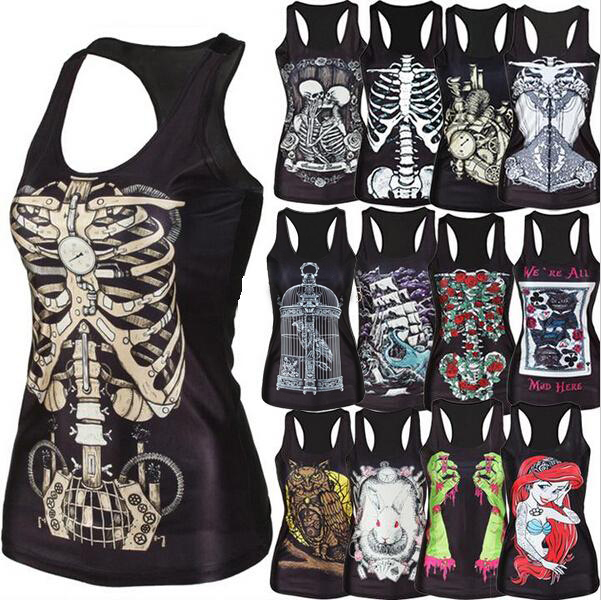 new 2015 women shirt Painting Cool Pattern 3D Skull bone Camisole Sexy print Vest Tanks Tops Drop shipping(China (Mainland))