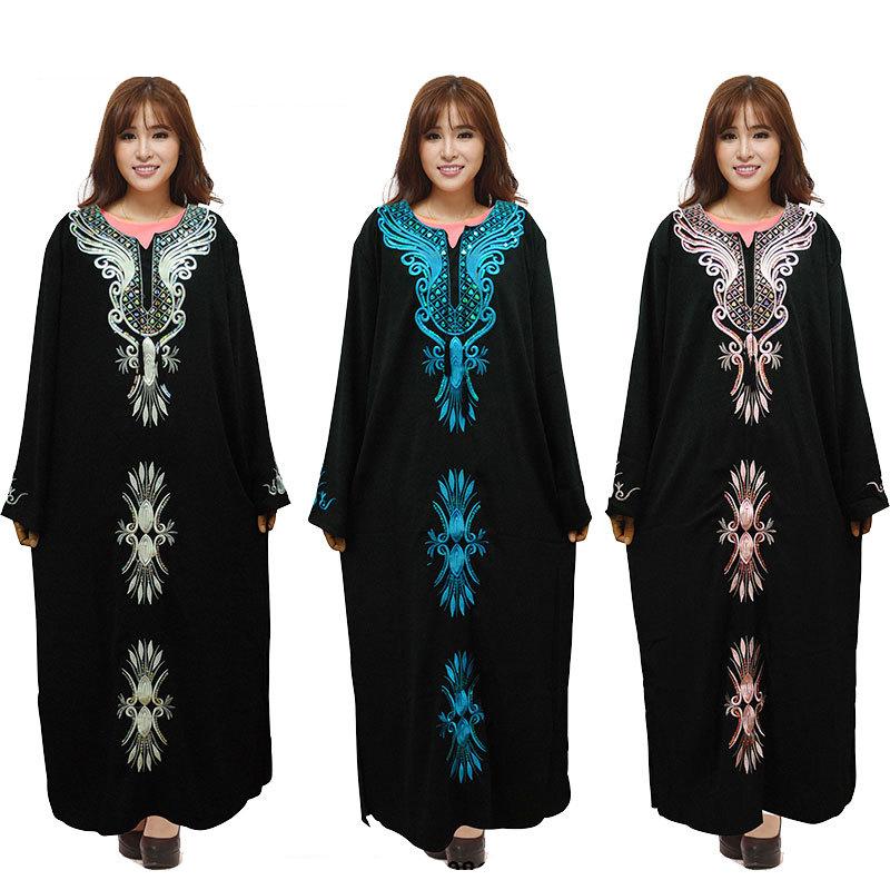 2016 Muslim Black Abaya Islamic Clothing For Women Fashion Plus Size Embroidery Diamonds Dubai