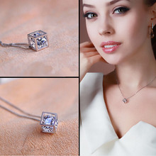 New Fashion Silver Magic Cube & Cone Dazzling Crystal Pendant Necklace For Women Charm Fine Jewelry(China (Mainland))