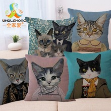 Mr. Cat Series Cotton Linen Fabric Cushion Covers