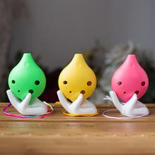 6 Holes Alto C Tone Resin Ocarina Musical Instrument - Pink Yellow Green(China (Mainland))