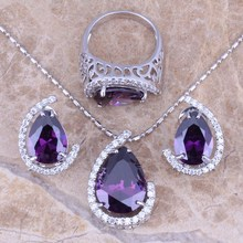 Purple Amethyst White Topaz Silver Jewelry Sets Earrings Pendant Ring For Women Size 6 / 7 / 8 / 9 / 10 Free Gift Bag S0004(China (Mainland))