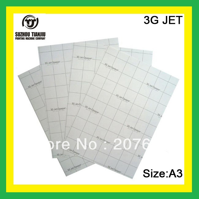 3G JET (A3) Dark color heat transfer paper,t-shirts transfer paper,inkjet heat transfer printing paper-A4(China (Mainland))