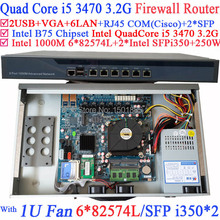 Intel Quad Core i5 3470 3.2 Ghz Barebone Industriale Router Firewall con 6*1000 M 82574L Gigabit Nic