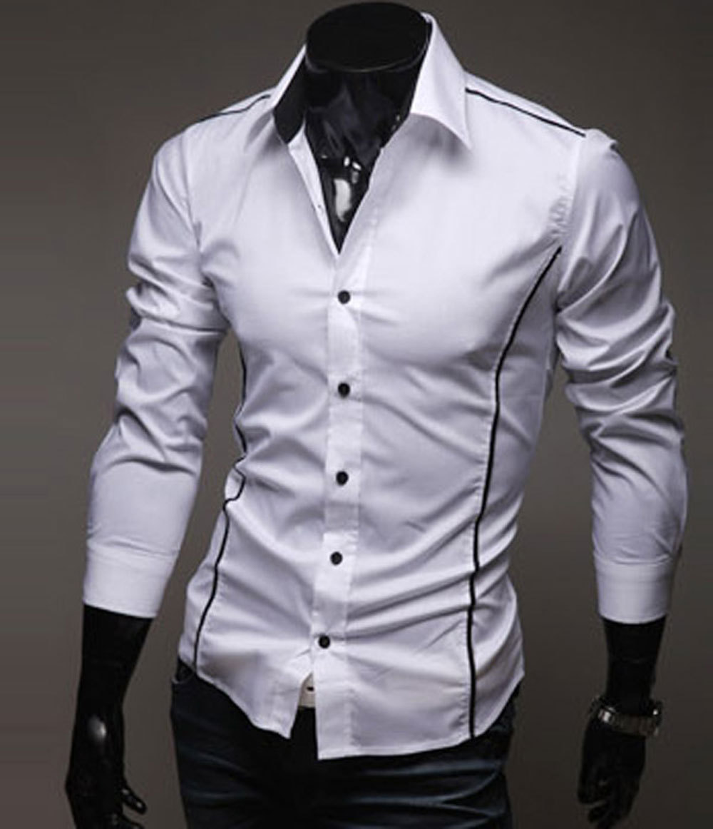 Mens dress shirt long sleeve shirt slim fit unique for Men s dress shirt accessories