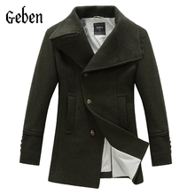 free shipping 2016 new pea men winter coats long overcoat men's abrigos de hombre wool coat  trench coat men winter 134020(China (Mainland))