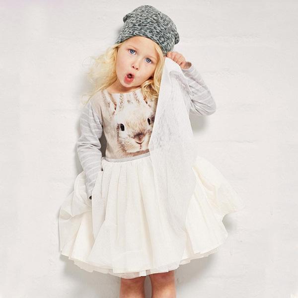 Sweet Baby Girls Toddler Kids Long Sleeve Tutu Dress Bunny Rabbit Dress Hot 1-6T(China (Mainland))