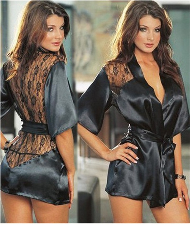 2016 Hot Sexy Lingerie Satin Lace Black Kimono Intimate Sleepwear Robe Sexy Night Gown sex products 5 Color S M L XL XXL(China (Mainland))