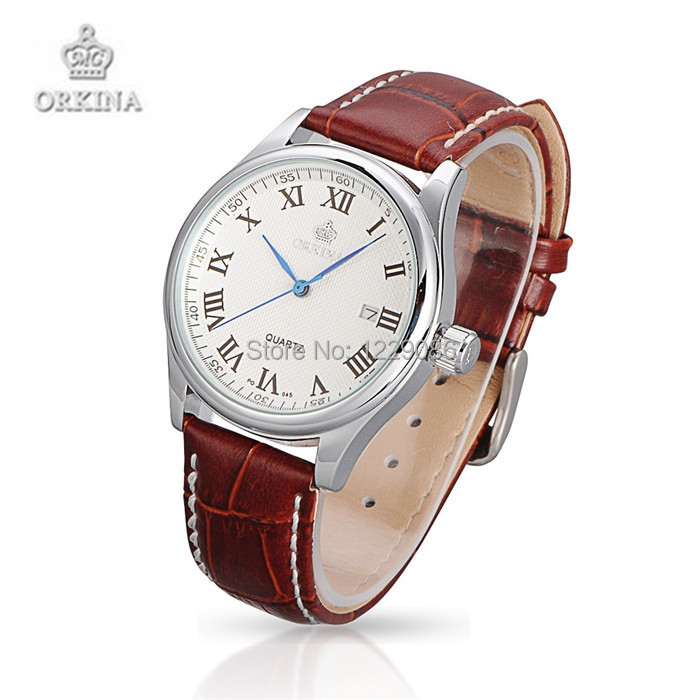 Women Watches ORKINA Brand Leather Quartz Wristwatches Fashion Casual Watches Gift For Ladies Brown Color