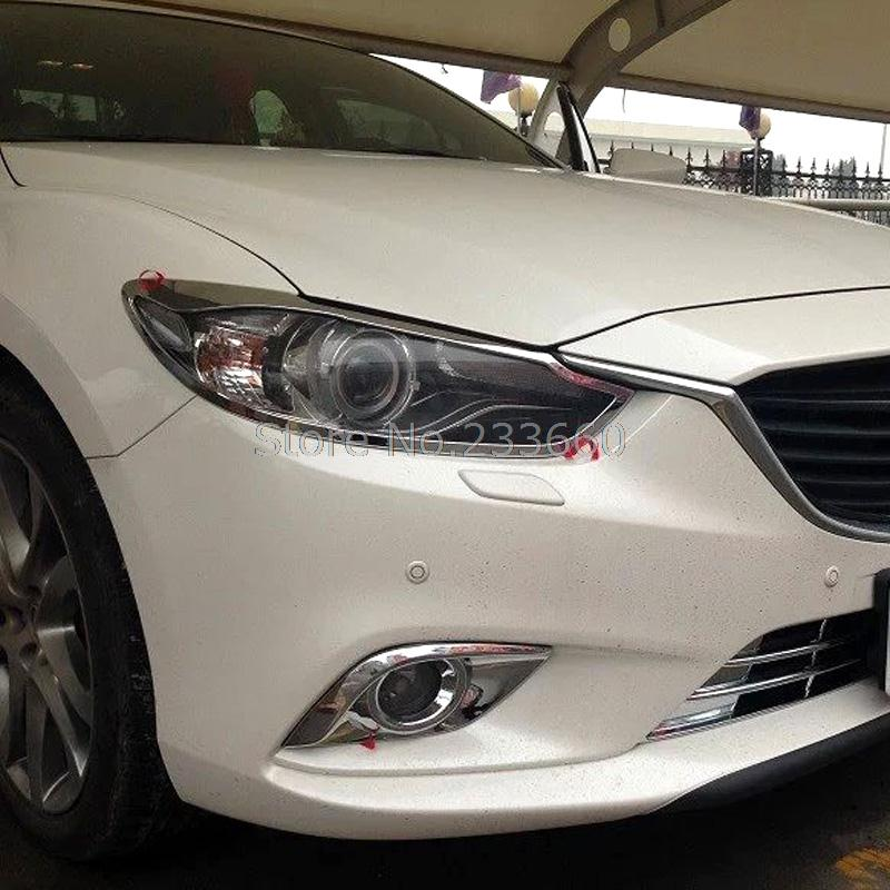 For Mazda 6 Atenza 2014 2015 Third Generation Front Lamp Light Covers lamp hood Trims Car Styling Headlight lamp shade frame<br><br>Aliexpress