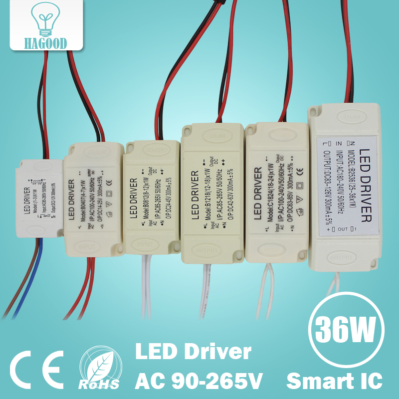 1-3W 4-7W 8-12W 12-18W 18-24W 25-36W Safe Plastic Shell LED driver LED light transformer power supply adapter for led lamp bulb(China (Mainland))