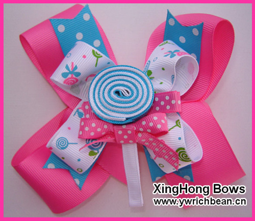 Girl's Holiday Large Boutique Lollipop Bow with Removable Lollipop Ribbon Sculpture Hair Clippie fashion hair accessory(China (Mainland))