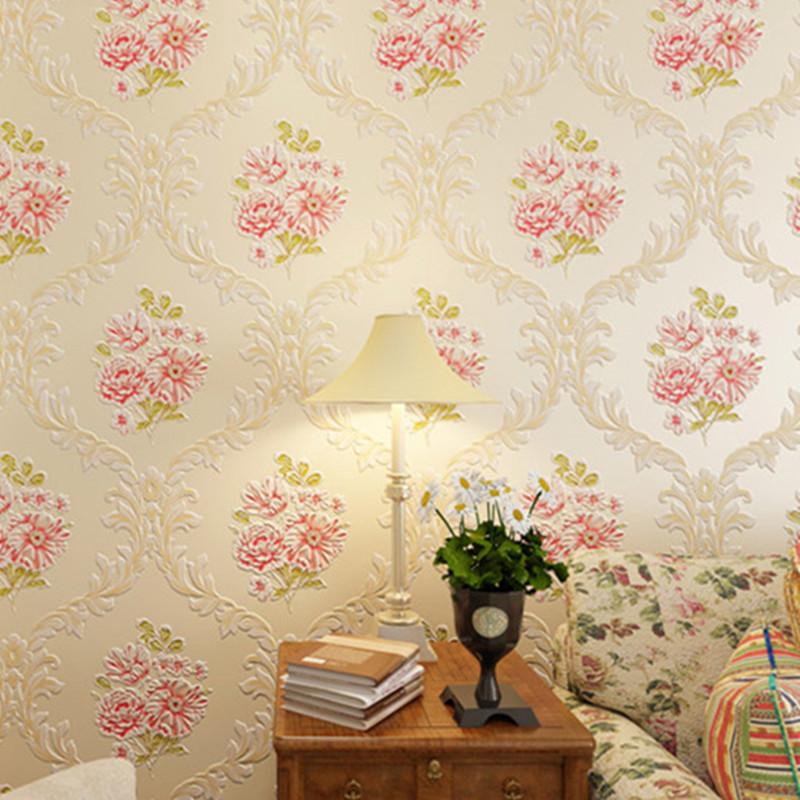 3d pastoral floral wallpaper embossed fabric wall mural