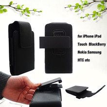 for iPhone 3GS 4S Black Vertical Leather Pouch Phone Bag Shell with Belt Clip for iPhone iPod BlackBerry Nokia Samsung HTC etc(China (Mainland))
