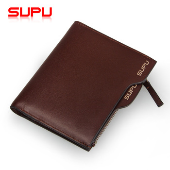Supu short design multifunctional genuine leather wallet men first layer of cowhide wallet vertical wallet  purse