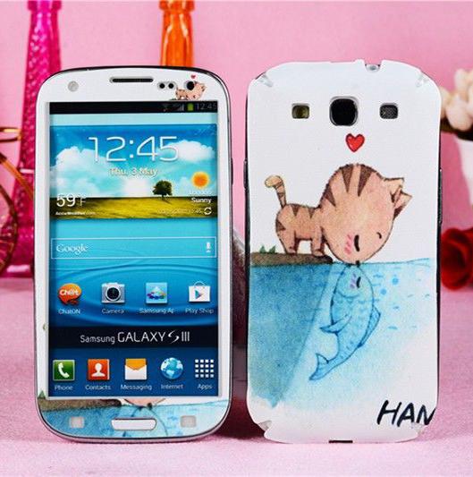 Cat kiss fish cartoon sticker Samsung Galaxy S3 screen protector S III 3 I9300 skin cover cell phone mobile kawaii film - Decor Union Store store