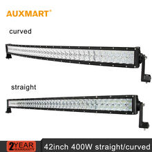 Auxmart 42inch 400w CREE 5D Chips LED Light Bar Curved Straight Combo Beam Work Light For
