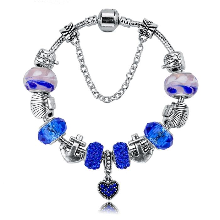 2015 Fashion Charm Bracelets & Bangles Silver Blue Glas Beads 19cm*3cm Snake Chain Jewelry Bracelets For Women SBR140712(China (Mainland))