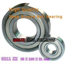 Buy 55mm Aperture High Deep Groove Ball Bearing 6211 55x100x21 Ball Bearing Double Shielded Metal Shields Z/ZZ/2Z for $11.00 in AliExpress store