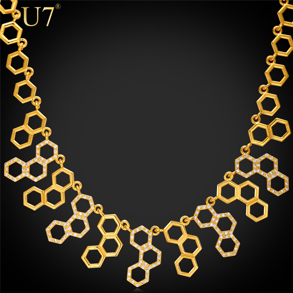 U7 2016 New Trendy Molecule Necklace For Women Platinum/18K Real Gold Plated Party Statement H2O Necklace Hexagonal Jewelry N546(China (Mainland))