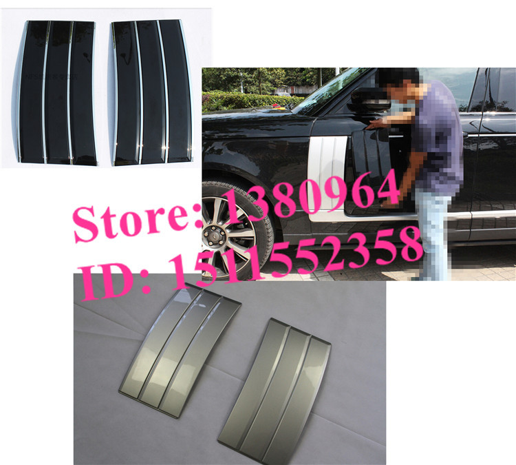 New design Black & Silver ABS side mesh vent grille grill fender frame Suitable FOR Land Rover Range Rover Vogue 2013 2014 2015(China (Mainland))
