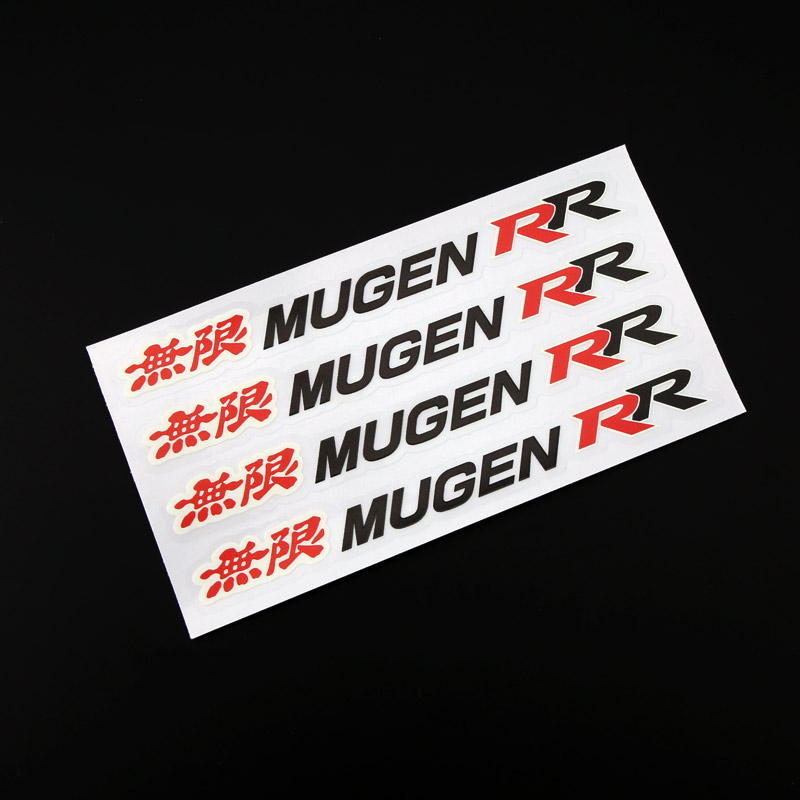ETIE New Design Red Mugen RR Logo Car Door Handle Decal Stickers Transparent Printing Mugen Power Custom Car Stickers 3D(China (Mainland))