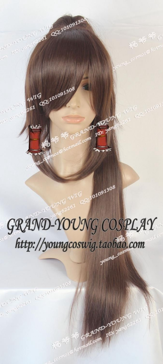 Oriental Red Devils the city Reimu Dark brown Cosplay Wig Fluffy pony tail 80CM >>Party cosplays heat resistant free shipping(China (Mainland))