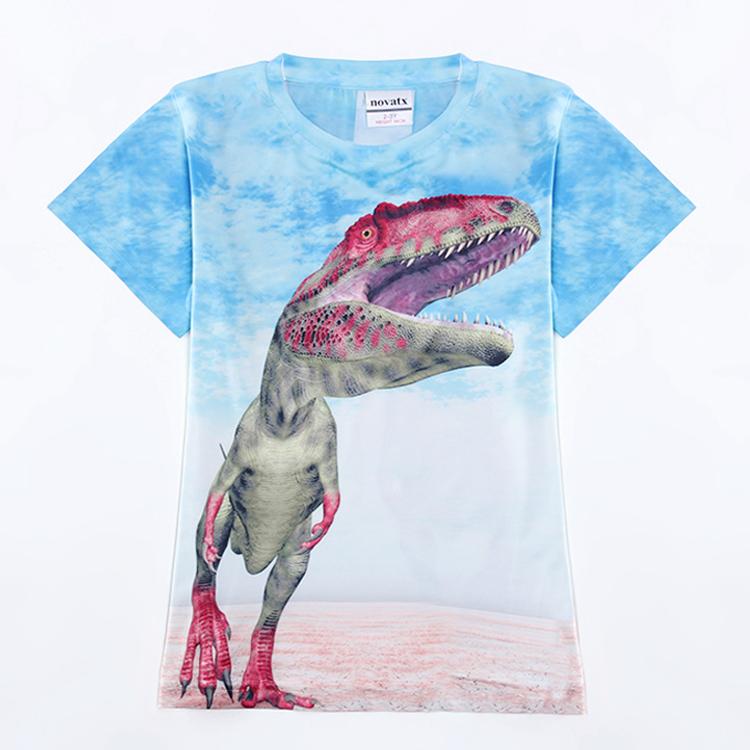 2015 new blue Baby Boys T-shirt with Short Sleeve Nova Kids Children Clothing print cool dinosaur Boys Cotton T-shirt<br><br>Aliexpress