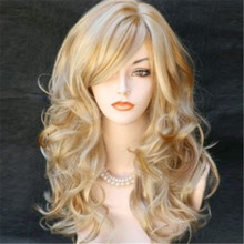 Fashion Sexy women wigs ombre natural hair heat resistant synthetic wigs high quality long curly wig 70cm blonde wig cosplay(China (Mainland))