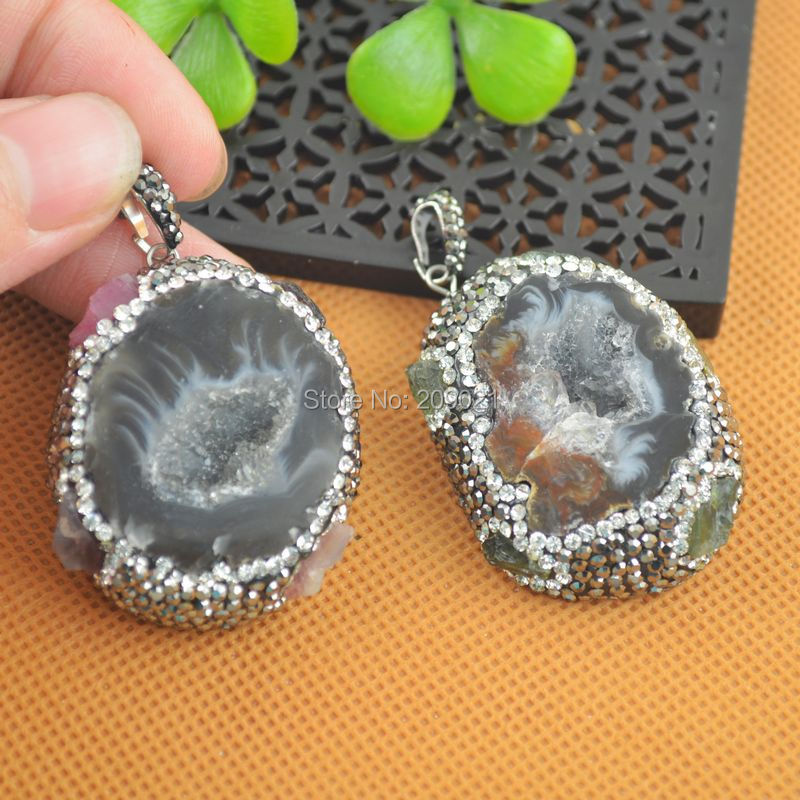 Charms ~ 5pcs Agate Druzy Drusy Quartz  Stone with Pave Rhinestone Crystal Pendants Jewelry Finding